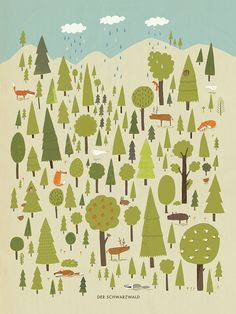 Print by Katrin Wiehle An accurate* depiction of the Blackforest in Germany. Printed on watercolor paper and signed by the artist. 12x16 inches whi...
