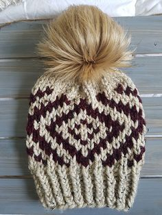 Ravelry: Aspen Beanie pattern by Made by Marlee Crochet Poncho, Crochet Hats, Knitting Projects, Knitting Patterns, Super Bulky Yarn, Owl Hat, Beanie Pattern, Coordinating Colors, Fur Pom Pom