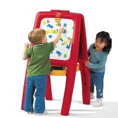 Easel for 2 Includes 77 foam magnetic letters, numbers and signs, Red or Pink Image 3 of 4 Toddler Easel, Toddler Art, Toddler Toys, Kids Toys, Toddler Stuff, Fun Crafts For Kids, Art For Kids, Arts And Crafts, Kids Art Easel