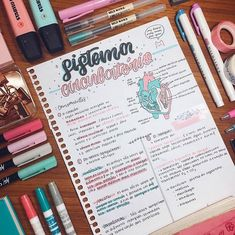 Resumo de Biologia - Sistema Circulatório Feito por: @focofarmacia ✨ Bullet Journal Notes, Bullet Journal School, Bullet Journal Ideas Pages, School Organization Notes, Study Organization, Medicine Notes, College Notes, School Notebooks, Study Journal