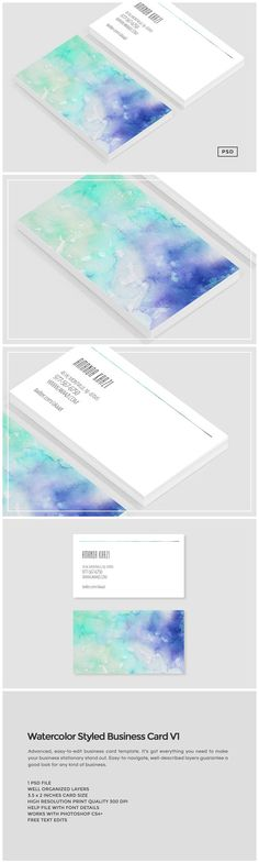 Watercolor Styled Business Card V1 by The Design Label on @creativemarket