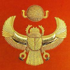 Advanced Goldwork embroidery Amy S Burt #goldwork #metalworkembroidery #handembroidery #embroidery #rsn #royalschoolofneedlework #handmade #needlework #needlecraft #scarab  #gold #ancientegypt #hieroglyphics #egyptiangod #amysburt by lady_b_embroidery