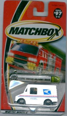 Matchbox 2000-97 Postal Service Delivery Truck On The Road Again 1:64 Scale by Mattel. $10.01. Firetruck in Background. #97 of 100. Matchbox 2000-97 Postal Service Delivery Truck On The Road Again 1:64 Scale