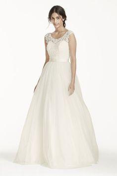 David's Bridal Tulle Wedding Dress with Lace Illusion Neckline Style WG3741 #DavidsBridalCollection #WeddingDresses