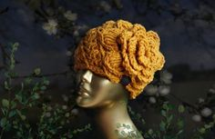 Crochet hat with flower. Designed & Handmade by Ilze Apine #crochethat #flowerhat #hatwithflower #shabbychic #retro #crochetspiralpattern #bigflower #mommyandme #womenshat #girlshat #babyhat #newbornhat #yellowhat #mustardyellow Gifts For Nan, Sister Gifts, Mommy And Me Outfits, Flower Hats, Fall Accessories, Cloche Hat, Big Flowers, Leather Earrings, Baby Hats