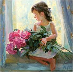 (Russia) Peonies for mummy by Vladimir Volegov ). Oil on canvas. Painting Of Girl, Painting For Kids, Painting & Drawing, Painting Canvas, Chalk Pastel Art, Chalk Pastels, Vladimir Volegov, Girls With Flowers, Realistic Paintings