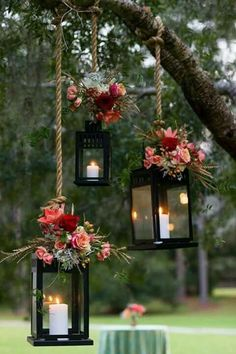 Lanterns: Up the cozy factor with this camping essential. Hang your lanterns fro. Lanterns: Up the cozy factor with this camping essential. Hang your lanterns Wedding Trends, Diy Wedding, Wedding Flowers, Dream Wedding, Wedding Day, Garden Wedding, Outdoor Fall Wedding Reception, Camping Wedding, Wedding Unique