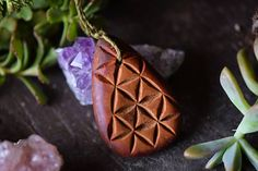 Flower Of Life Necklace  Avocado Stone  Handcarved  Natural