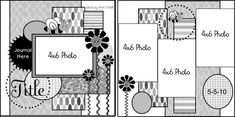 4 x 6 photos Scrapbook Layout Sketches, Scrapbook Templates, Card Sketches, Scrapbook Paper Crafts, Scrapbooking Layouts, Scrapbook Cards, Picture Scrapbook, Page Maps, Photo Sketch