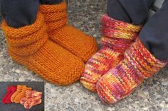 Snuggly slippers for kids, fast to knit and long wearing in bulky yarn. http://www.appleyarns.com/products/knitting-pure-and-simple-baby-children-patterns-113-childrens-mukluk-slippers-pattern