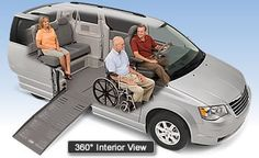 The Entervan is a van by Braun that has been adapted to assist wheelchair bound individuals enter and exit Vans.  The ramp attachment to the van is electronic and folds in to the van.  One of the major benefits is that passengers sit at normal driving height and don't appear any different than other passengers in the van.
