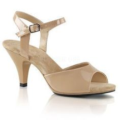 "Sexy Fabulicious 3"" Kitten Heel Shiny Nude/Tan Peep Toe Ankle Strap Sandals 5-16 #tananklestrapsheels"