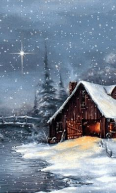 Download Animated 240x400 «Winter house» Cell Phone Wallpaper. Category: Nature