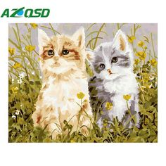 AZQSD Diy Oil Painting By Number Animals Cat Abstract Acrylic Paint Decor Canvas Painting Coloring By Number Drawing szyh6192 #Affiliate
