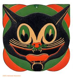 Halloween vintage Halloween cat Awesome collection of vintage style Halloween! What a darling vintage Halloween illustration . Halloween Designs, Retro Halloween, Halloween Fotos, Vintage Halloween Decorations, Halloween Images, Halloween Cat, Halloween Outfits, Holidays Halloween, Happy Halloween