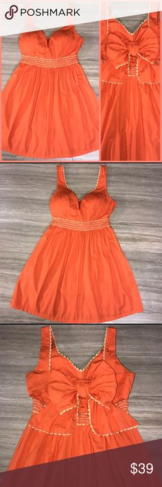 Judith March Bow Tie Sundress Judith March fit and flare midi sundress. Very detailed, embroidered empire waistband, back side bow with middle back cut out, padded chest cups and fully lined, zips in back.  Tangerine orange with cream trim. Very good condition. Judith March Dresses Midi