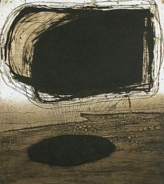 Akiko Taniguchi. Drift, 2003. Etching, chine colle. Edition of 20. 8-7/8 x 7-7/8 inches.