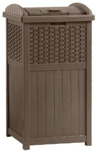 Suncast GHW1732 Resin Wicker Trash Hideaway by Suncast. $35.99. Keep your area clean while adding style to the ambiance of you outdoor area. Durable, contemporary design looks great on patio. This trash hideaway features a latching lid. Solid bottom panel. Hold 30-33 gallon garbage bags. Stay dry design. Trash Receptacle.. Save 40% Off!