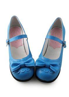 Kwaii Blue lace bowknot PU flat Lolita Shoes #lolita #shoes #MyeSoul