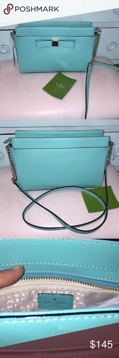 Kate Spade Giverny Blue Bag Gorgeous classic!! Shoulder bag with bow and logo in gold trim. Strap is part gold tone chain and leather strap. 10x7in. kate spade Bags Shoulder Bags