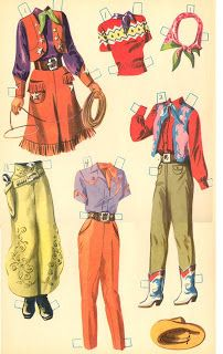 Girls of the West paper dolls vintage fashion style color illustration fringe skirt shirt pants scarf red green tan Vintage Cowgirl, Cowboy And Cowgirl, Gypsy Cowgirl, Vintage Paper Dolls, Vintage Sewing, Anniversaire Cow-boy, Vintage Outfits, Vintage Fashion, Green Girl