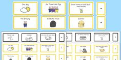 The Three Little Pigs Sentence Building Cards