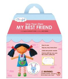 Kids' Sewing Kits - My Studio Girl Best Friend Dolls  Dark Hair -- You can get more details by clicking on the image.