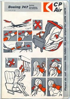 CP B-747 Safety Card.  23 June 1976 Flight CP-081 Toronto to Vancouver YVR in B-747-200