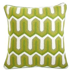 Wisteria - Accessories - Shop by Category - Throw Pillows -  Edgy Crewelwork Pillow - Green - $49.00
