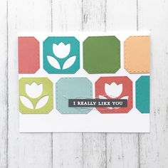Coordinates with Retro Petals stamp set, Retro Petals stencils and Bold & Brushy Uppercase Alphabet stamp set! Approximate measurements:Frame = 1 x 1 = 1 x 1 = x = 1 x Uppercase Alphabet, Alphabet Stamps, Concord And 9th, Die Cut Cards, Tulips, Like You, Stencils, Kids Rugs, Retro