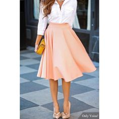 Yoins Yoins Pink Midi Skater Skirt (£8.46) ❤ liked on Polyvore featuring skirts, pink, midi circle skirt, skater skirt, pink skater skirt, mid calf skirt and evening skirts