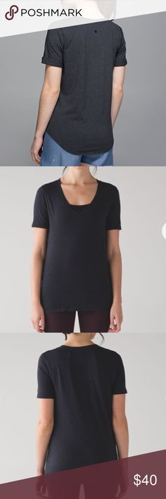 "Lululemon Love Tee IV Buttery soft yoga tee by Lululemon. Color is ""mini stripe heathered inkwell black"". Worn once, practically new. Great for a studio to street look. Open to offers and trades💜 lululemon athletica Tops Tees - Short Sleeve"