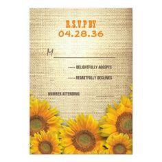 Farm Wedding Invitations Sunflowers Rustic Wedding RSVP Cards