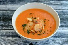 Supă cremă de creveţi   Bucate Aromate Gazpacho, Thai Red Curry, Seafood, Cooking, Ethnic Recipes, Soups, Homemade Food, Homemade, Cream