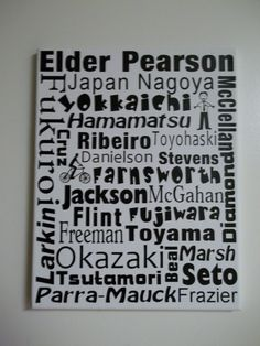 Return Missionary Subway Art - Includes Missionary's name, mission, all areas he/she served, and all companion's names Only $25