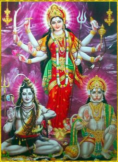 Hanuman, Shiva and Durga Shiva Hindu, Shiva Art, Shiva Shakti, Hindu Deities, Hindu Art, Krishna Radha, Indian Goddess, Goddess Lakshmi, Lord Krishna Images