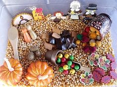 Thanksgiving sensory tub, thanksgiving sensory bun