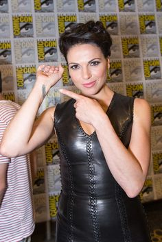 "LOVE ""ONCE UPON A TIME""..Lana Parrilla showing off her Tattoo - she told us it stands for ""Hope""."