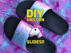 c400b5609761bb Custom DIY Nike Unicorn Slides WITH unicorn HORN!