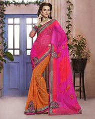 Pink & Orange Color Georgette Festival & Function Sarees : Rangreli Collection YF-27345