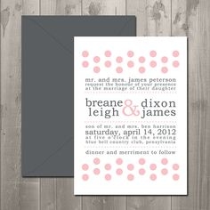 Cheeky Dots Wedding Invitation - DIY Printable Invitation $15.00