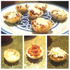 BBQ Chicken bites... Phyllo cup + sauced & shredded BBQ chicken (use crockpot BBQ chix recipe) + mozzarella [melt cheese on top] = best appetizer EVER.