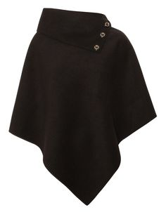 Buttoned Neck Tailored Cape in Black £ 14.95 http://www.chiarafashion.co.uk/buttoned-neck-tailored-cape-in-black.html #button #neck #tailored #cape #trend #campusstyle #streetstyle #black