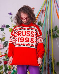 vintage wool sweater, russia 1995 retro jumper, red christmas pullover, warm winter 90s sweater