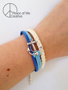 Layered Blue and Cream Anchor Bracelet...would be cute with the cream and some leather layers with different charm?...