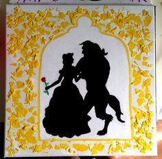 Beauty And The Beast Silhouette Crayon Painting By UniqueCrayonArt 2000