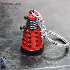 Japanese Anime Collectables Comics Super Hero Doctor Who Red Dalek Tardis Keychain Key Ring Pendant Doctor Who Dalek, Tardis, Key Rings, Japanese, Superhero, Personalized Items, Comics, Pendant, Metal