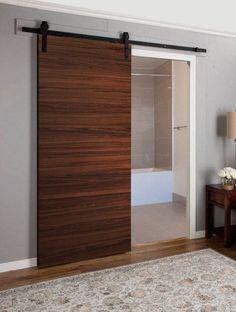 Barn Door with Hardware Interior Barn Door Hardware, Modern Sliding Doors, Indoor Sliding Doors, Barn Style Doors, Brown Doors, Diy Barn Door, Door Makeover, Door Design, Gate Design