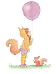 Brenda Figueroa Illustration - brenda, brenda figueroa, commercial, traditional, painterly, watercolour, sweet, young readers, picture books, hand drawn, paint, coloured, fiction, character, girl, squirrel, balloon, party, dress up, costume, animal, wildlife, pumpkins, pet