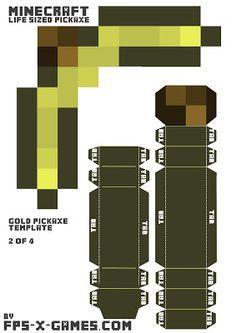 Minecraft Papercraft Gold Pickaxe 2 of 4
